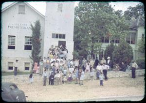 Primary view of object titled '[Photograph of Group in front of Presbyterian Church]'.