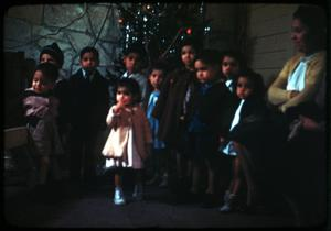 Primary view of object titled '[Photograph of Children at Church Christmas Party]'.