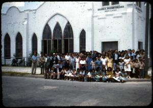 Primary view of object titled '[Photograph of Congregation in Front of Presbyterian Church]'.