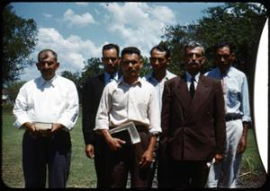 Primary view of object titled '[Photograph of Reverend L.C. Hernandez, Elders, and Deacons]'.