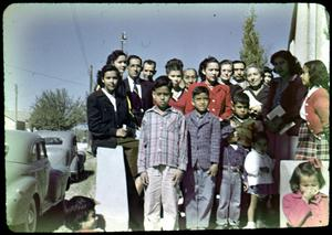 Primary view of object titled '[Photograph of Group Outside Church]'.