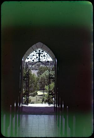 Primary view of object titled '[Photograph Looking out from Chapel at Mo-Ranch]'.