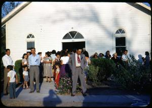 Primary view of object titled '[Photograph of Crowd in Front of First Mexican Presbyterian Church]'.