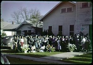 Primary view of object titled '[Photograph of Woman's Union in Front of Iglesia Bethel]'.