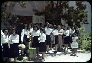 Primary view of object titled '[Photograph of People Outside Presbyterian School for Mexican Girls]'.
