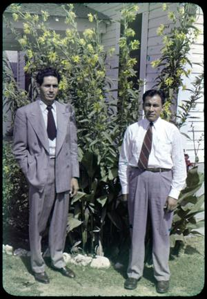 Primary view of object titled '[Photograph of Henry Camacho and Reverand J.L. Leos]'.