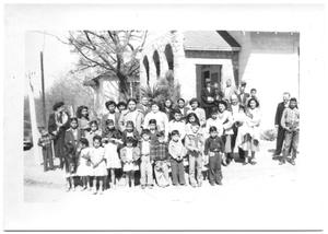 Primary view of object titled '[Children Standing Outside a Church]'.