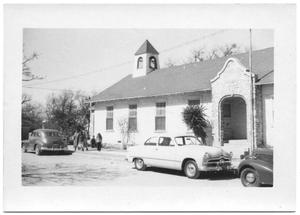 Primary view of object titled '[Cars Parked Outside a Church]'.