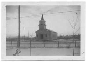Primary view of object titled '[Front View of the Presbyterian Mission at Bonita Gardens]'.