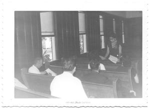 Primary view of object titled '[Members of Houston V.C.S. Institute Sitting in Pews #2]'.