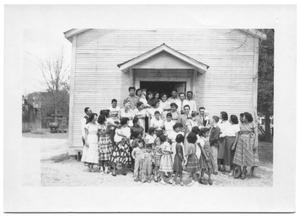 Primary view of object titled '[Large Group of Hispanic People at the Entrance of a Building # 2]'.