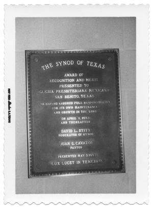 Primary view of object titled '[Commemorative Plaque on the Wall]'.
