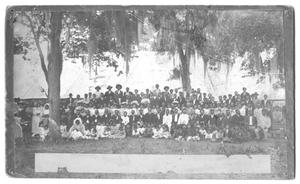 Primary view of object titled '[Large Group Portrait Among Trees]'.