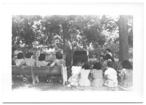 Primary view of object titled '[Back View of a Row of Several Seated Women]'.