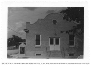 Primary view of object titled '[Front Entrance of a Small Presbyterian Church]'.