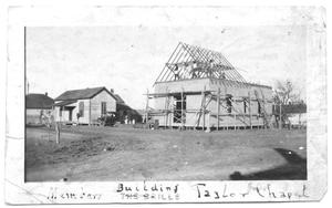Primary view of object titled '[Chapel Building Under Construction]'.