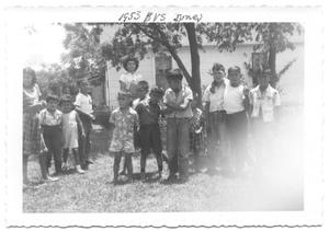 Primary view of object titled '[Young Hispanic Boys Standing Under a Tree]'.