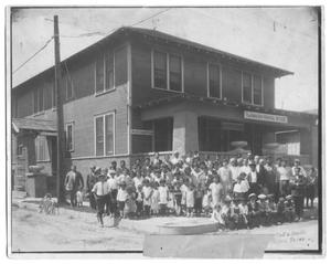 Primary view of object titled '[Large Group of Children Standing in Front of a Mission]'.
