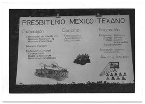 Primary view of object titled '[Sign for a Texas-Mexican Presbyterian Church]'.
