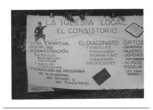 Primary view of object titled '[Sign for a Texas-Mexican Presbyterian Consistory]'.