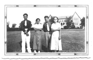 Primary view of object titled '[Four Hispanic People Standing in Front of a Large Estate]'.