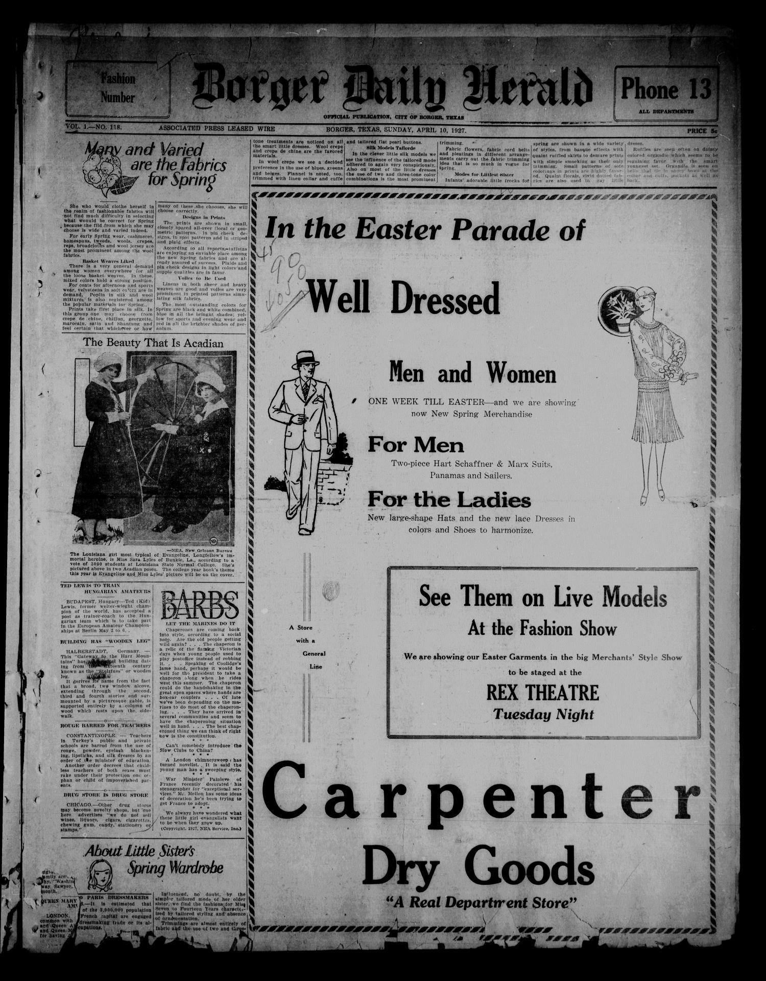 Borger Daily Herald (Borger, Tex.), Vol. 1, No. 118, Ed. 1 Sunday, April 10, 1927                                                                                                      [Sequence #]: 1 of 14