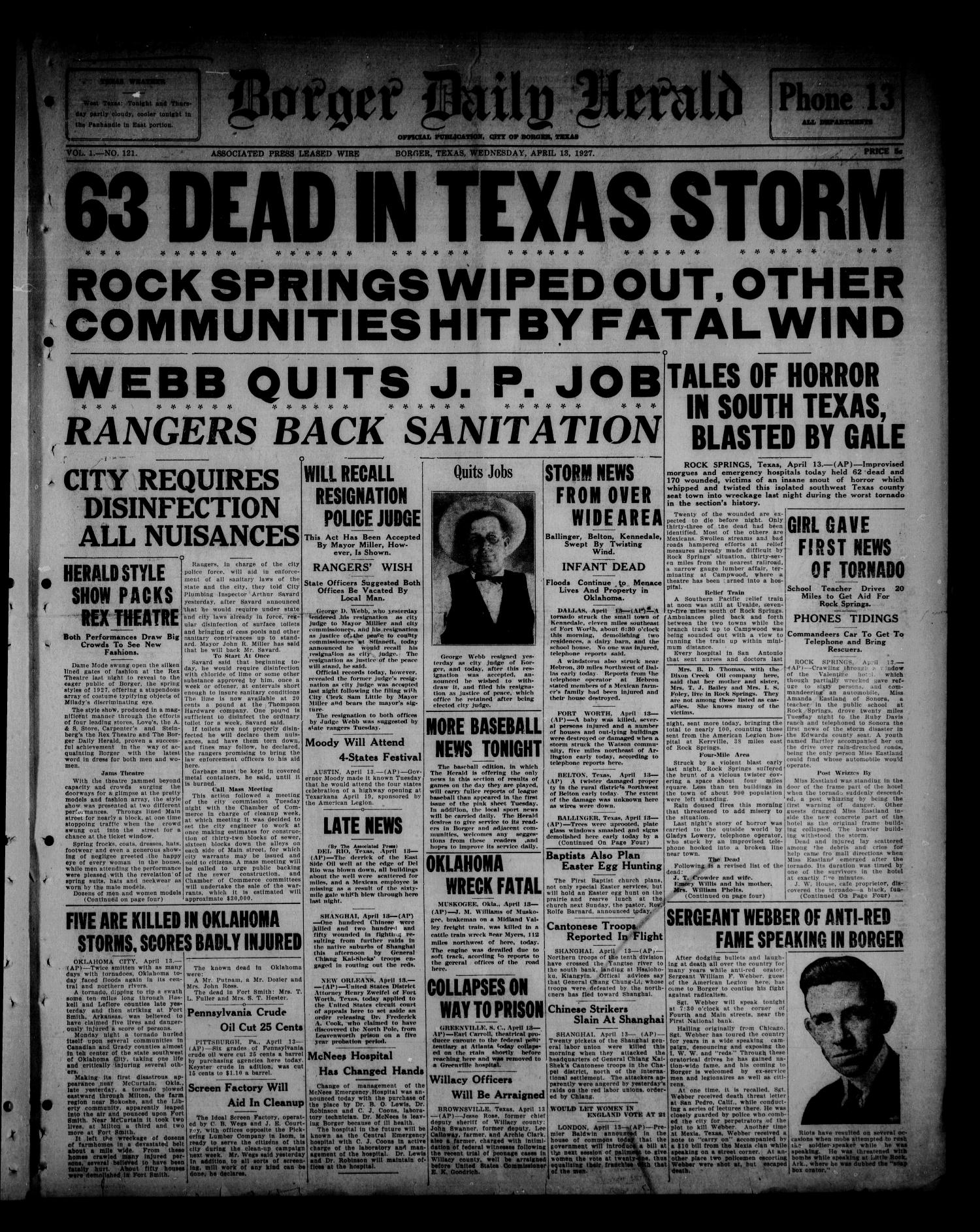 Borger Daily Herald (Borger, Tex.), Vol. 1, No. 121, Ed. 1 Wednesday, April 13, 1927                                                                                                      [Sequence #]: 1 of 6