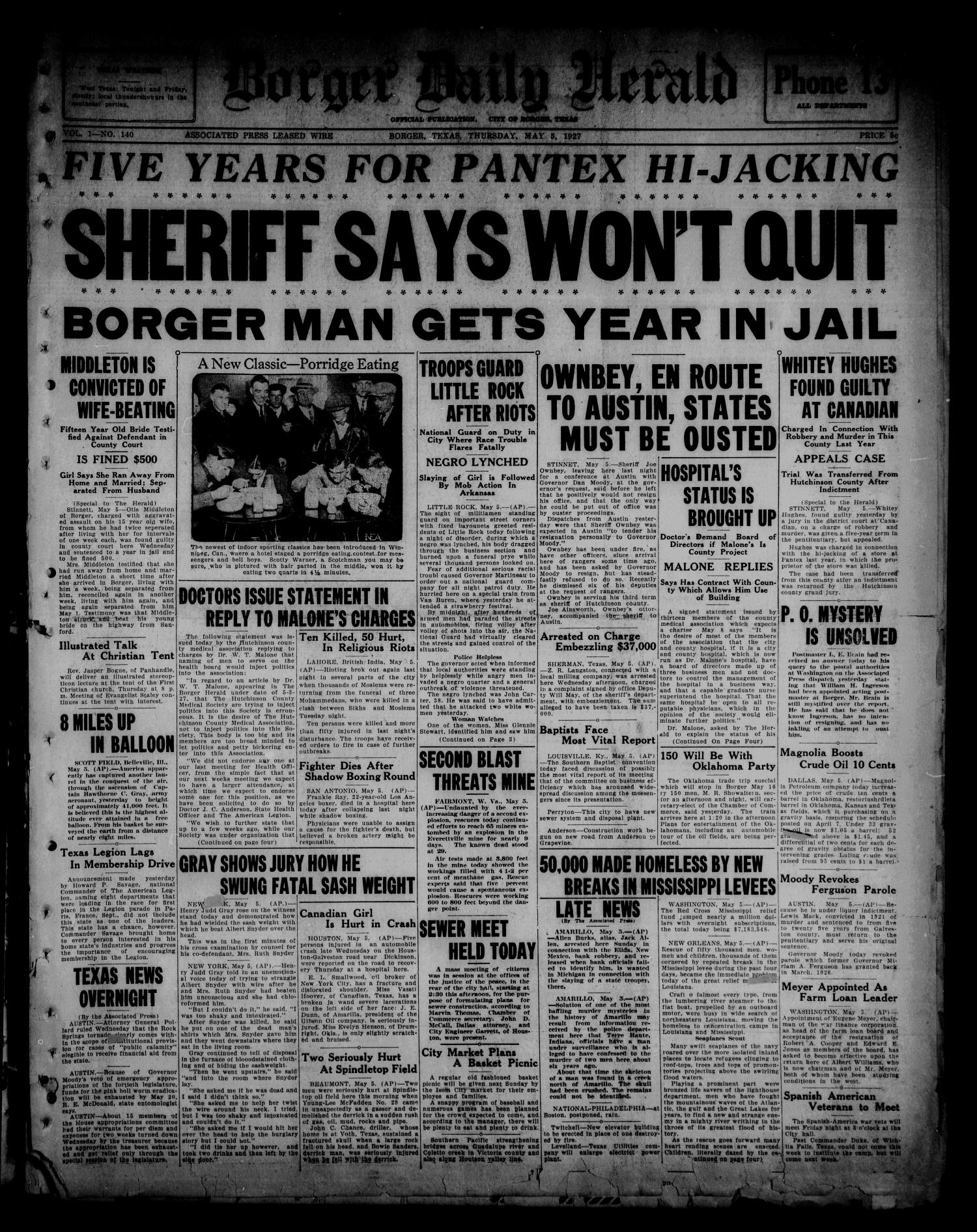 Borger Daily Herald (Borger, Tex.), Vol. 1, No. 140, Ed. 1 Thursday, May 5, 1927                                                                                                      [Sequence #]: 1 of 6