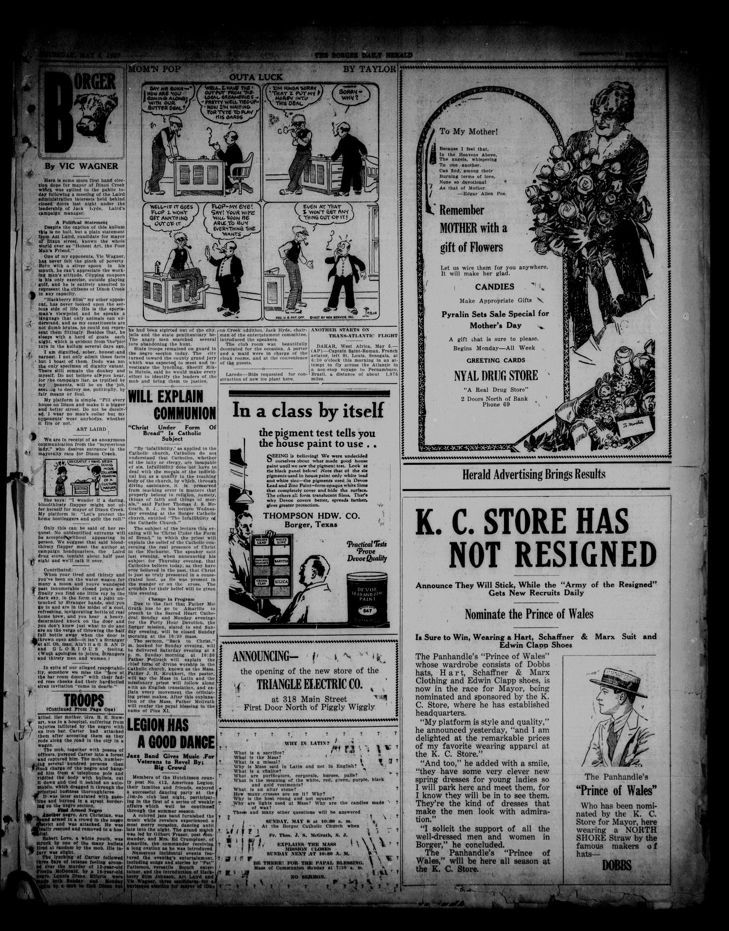 Borger Daily Herald (Borger, Tex.), Vol. 1, No. 140, Ed. 1 Thursday, May 5, 1927                                                                                                      [Sequence #]: 3 of 6