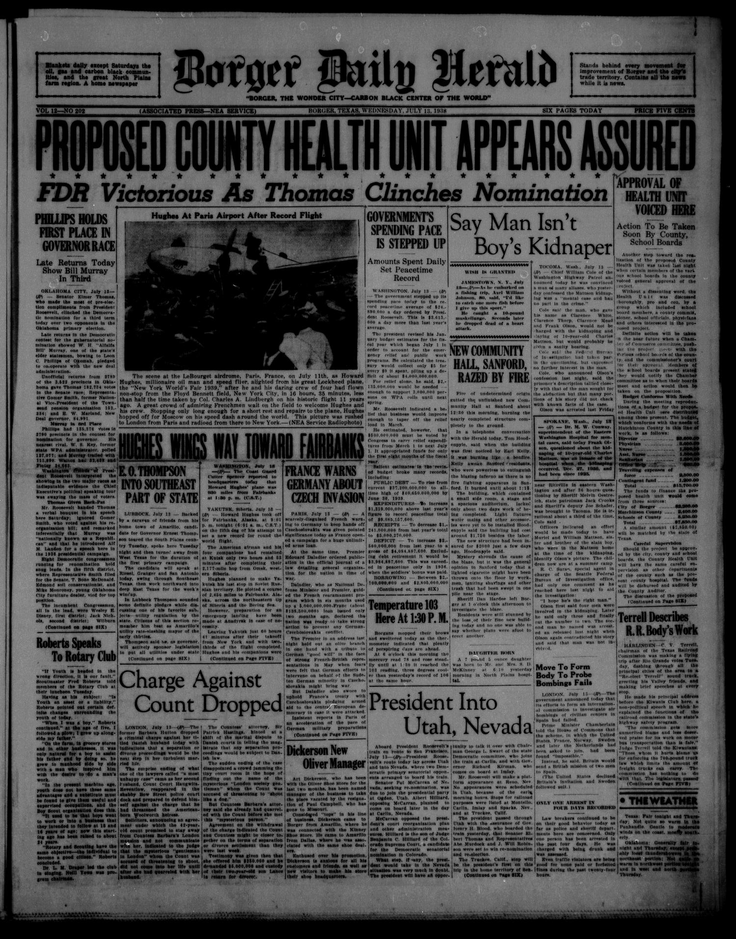 Borger Daily Herald (Borger, Tex.), Vol. 12, No. 202, Ed. 1 Wednesday, July 13, 1938                                                                                                      [Sequence #]: 1 of 6