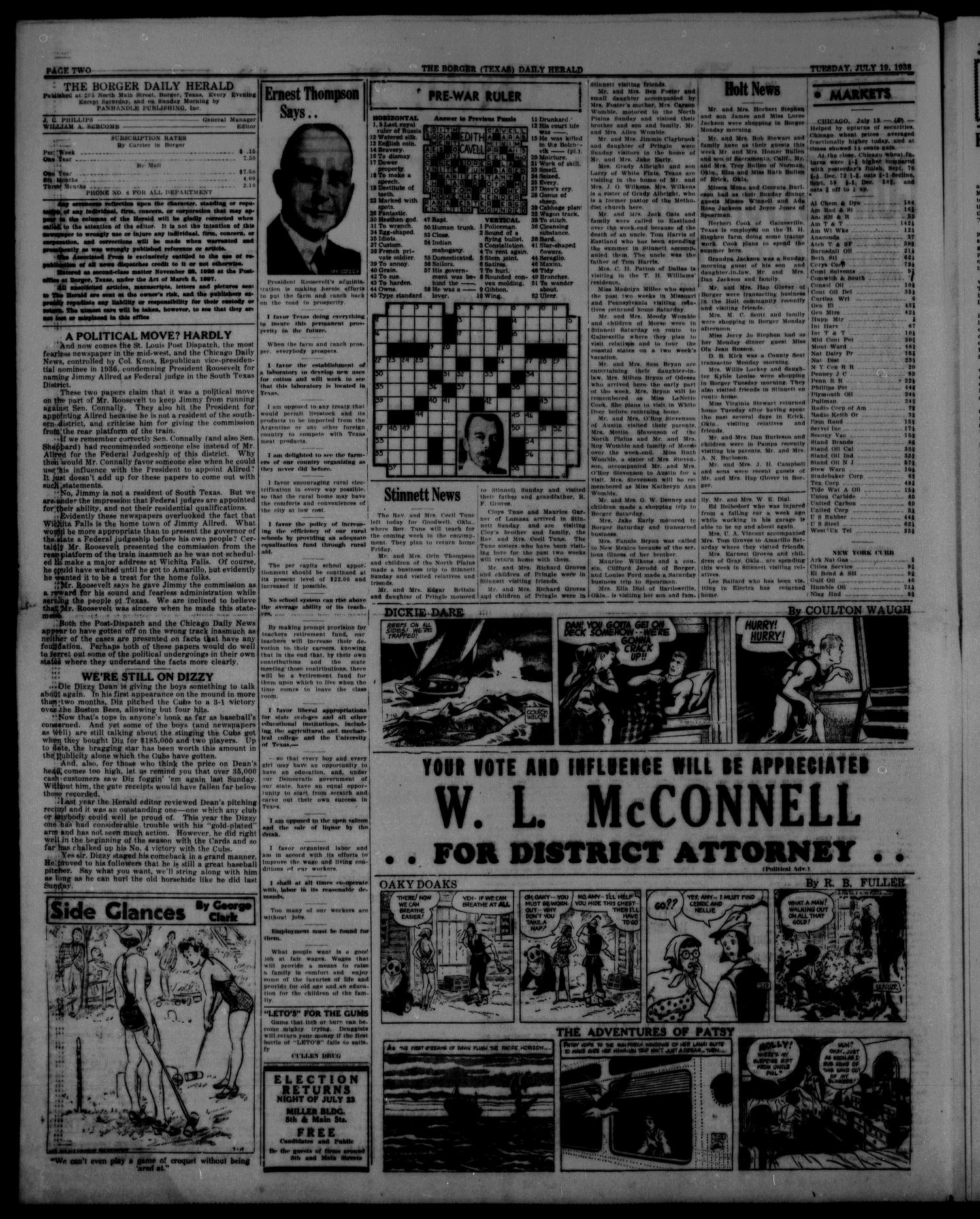 Borger Daily Herald (Borger, Tex.), Vol. 12, No. 207, Ed. 1 Tuesday, July 19, 1938                                                                                                      [Sequence #]: 2 of 6
