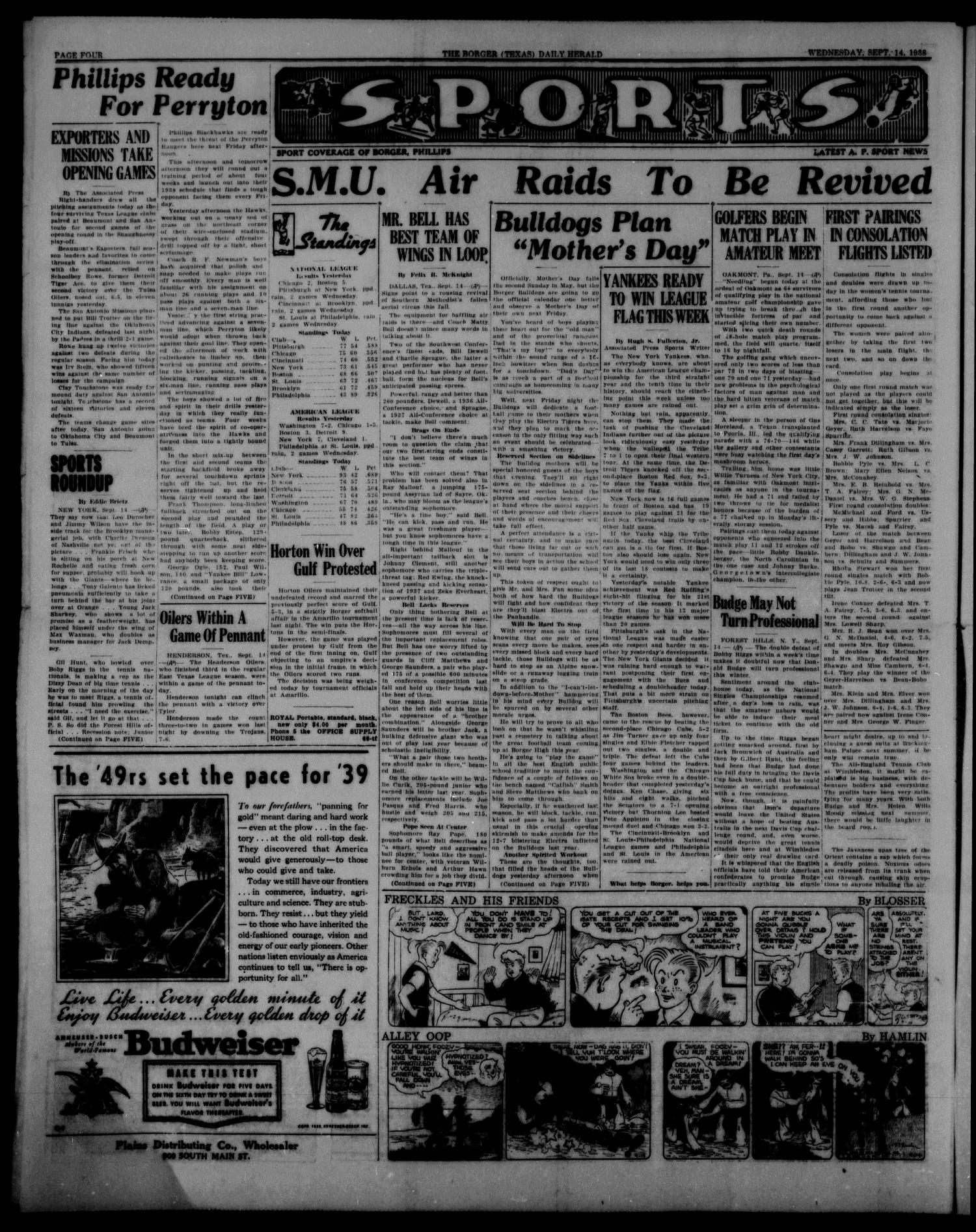 Borger Daily Herald (Borger, Tex.), Vol. 12, No. 256, Ed. 1 Wednesday, September 14, 1938                                                                                                      [Sequence #]: 4 of 6