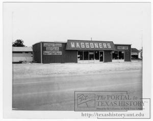 Primary view of object titled '[Waggoner's Boot-Barber Shop]'.