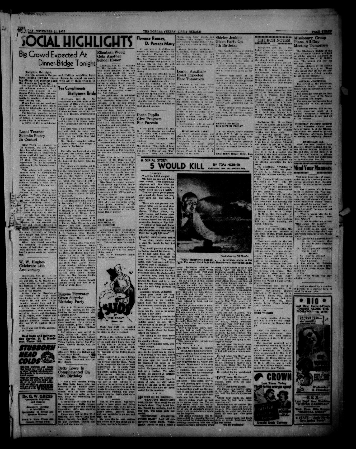 Borger Daily Herald (Borger, Tex.), Vol. 13, No. 312, Ed. 1 Tuesday, November 21, 1939                                                                                                      [Sequence #]: 3 of 6