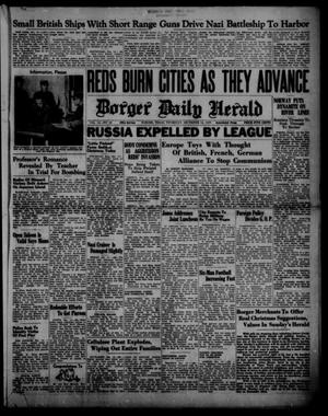 Primary view of object titled 'Borger Daily Herald (Borger, Tex.), Vol. 14, No. 19, Ed. 1 Thursday, December 14, 1939'.