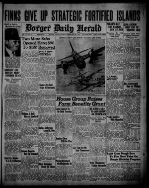 Primary view of object titled 'Borger Daily Herald (Borger, Tex.), Vol. 14, No. 81, Ed. 1 Monday, February 26, 1940'.