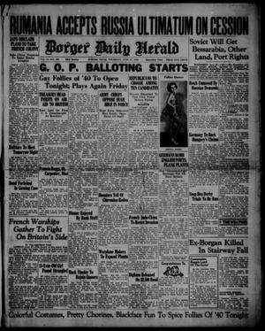 Primary view of object titled 'Borger Daily Herald (Borger, Tex.), Vol. 14, No. 186, Ed. 1 Thursday, June 27, 1940'.