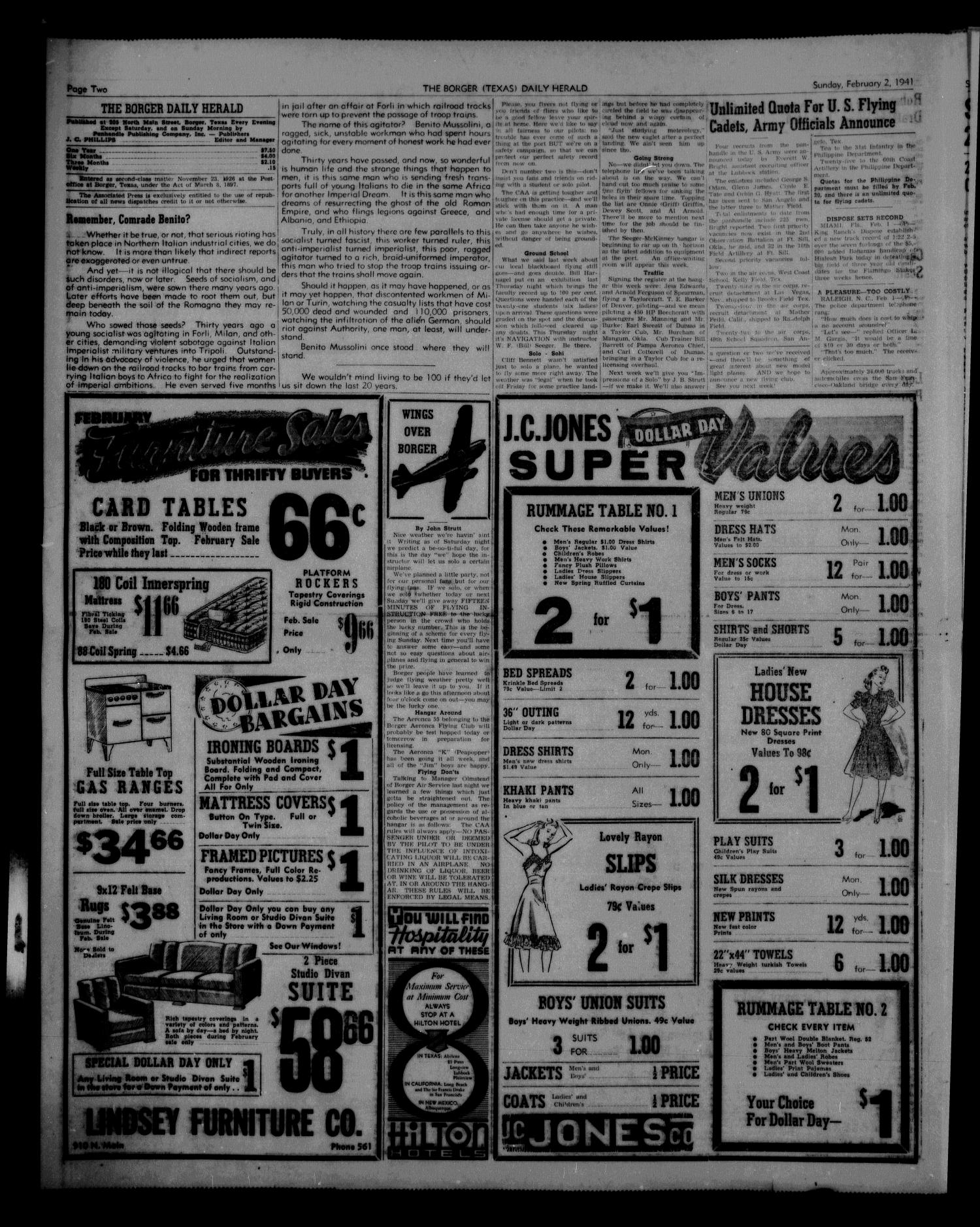 Borger Daily Herald (Borger, Tex.), Vol. 15, No. 61, Ed. 1 Sunday, February 2, 1941                                                                                                      [Sequence #]: 2 of 12