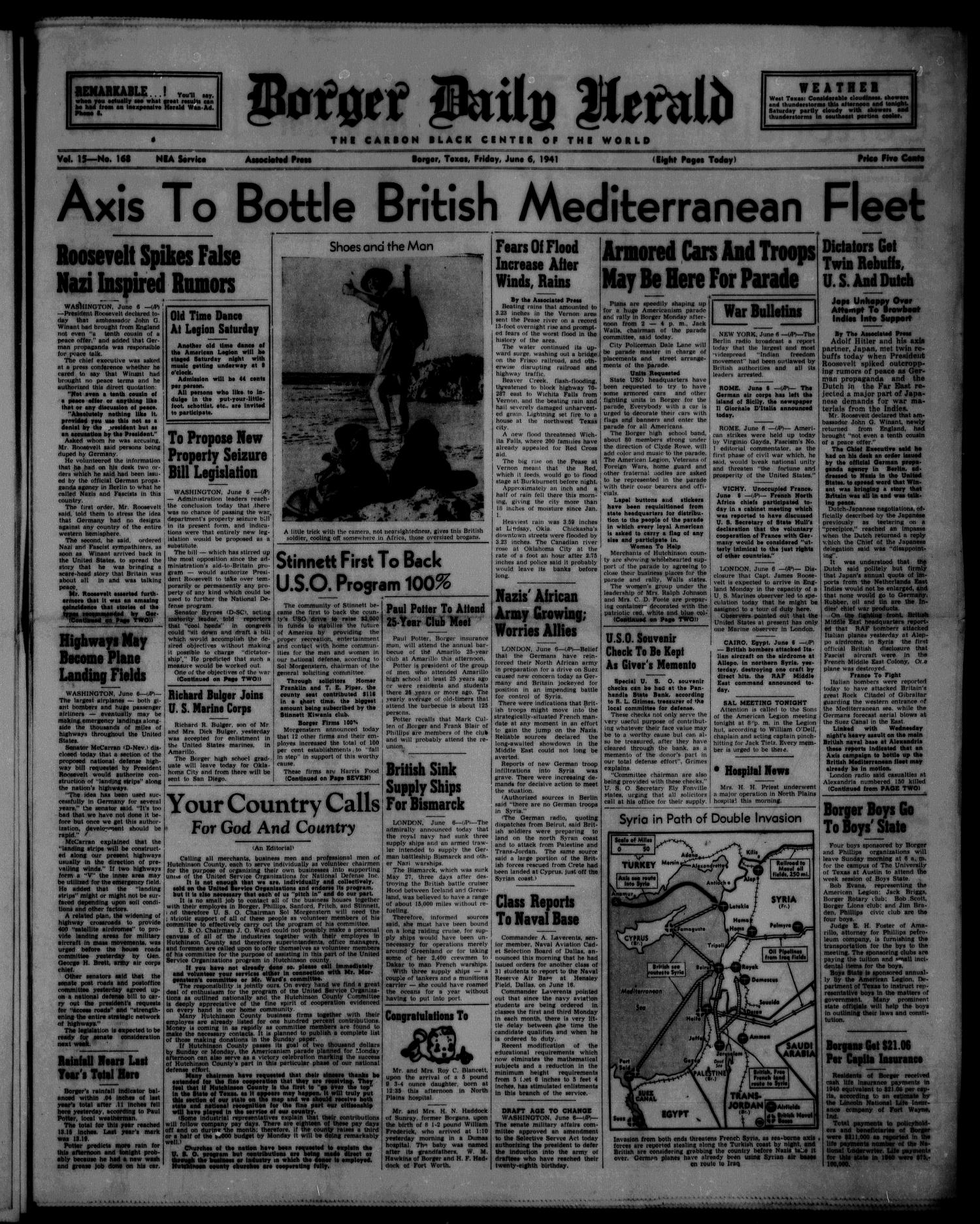 Borger Daily Herald (Borger, Tex.), Vol. 15, No. 168, Ed. 1 Friday, June 6, 1941                                                                                                      [Sequence #]: 1 of 8