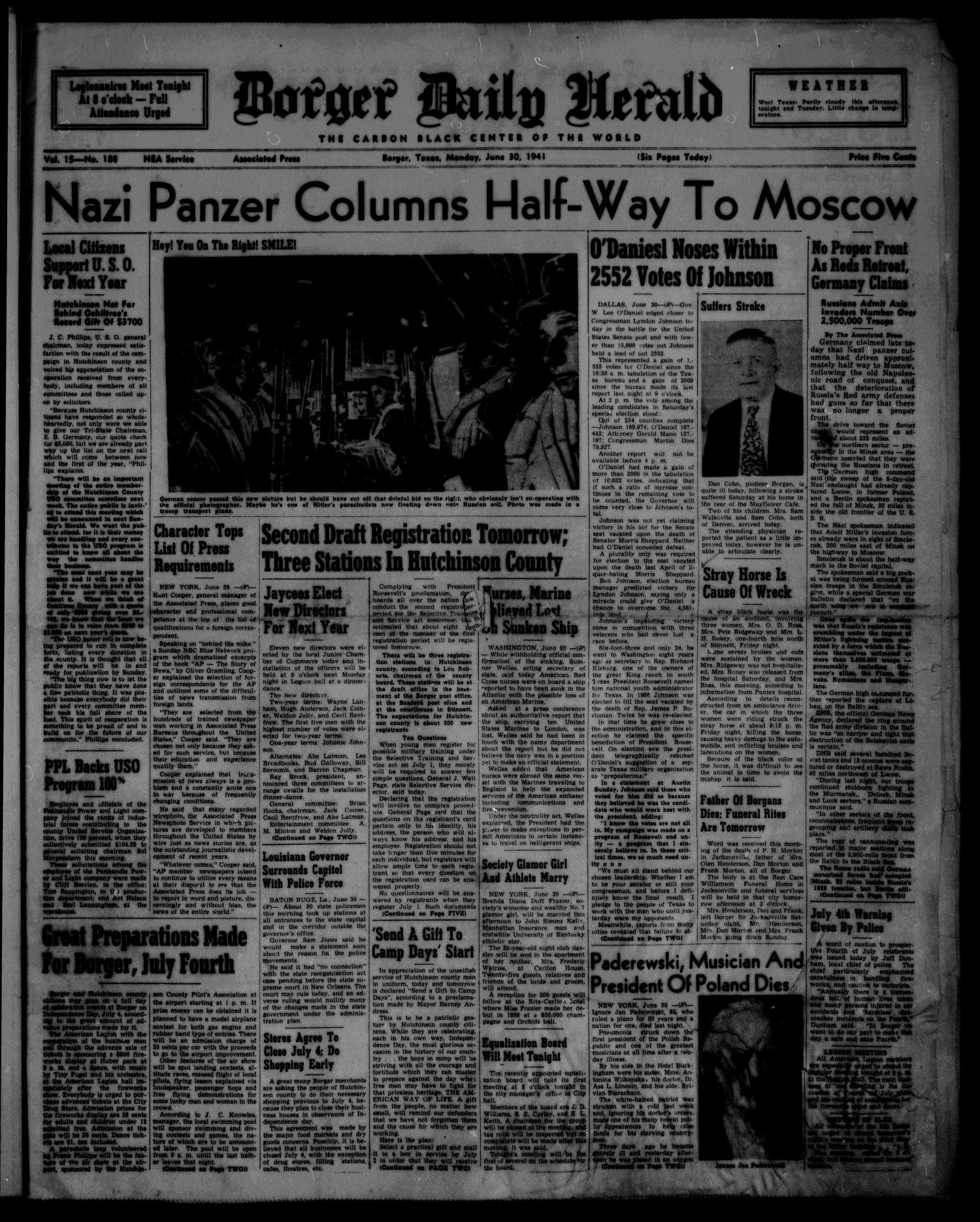 Borger Daily Herald (Borger, Tex.), Vol. 15, No. 188, Ed. 1 Monday, June 30, 1941                                                                                                      [Sequence #]: 1 of 6