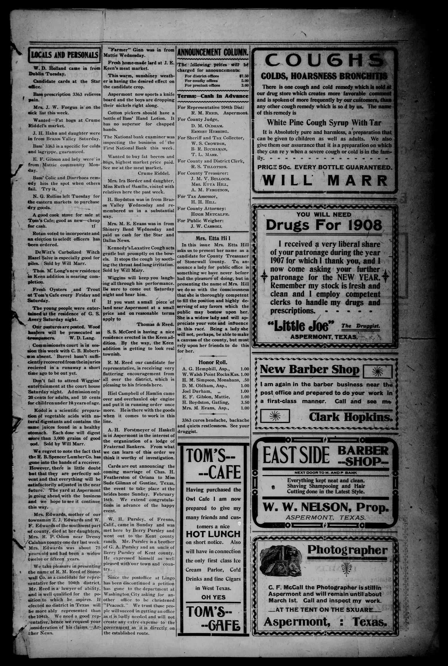 The Aspermont Star (Aspermont, Tex.), Vol. 10, No. 32, Ed. 1 Thursday, February 13, 1908                                                                                                      [Sequence #]: 3 of 8
