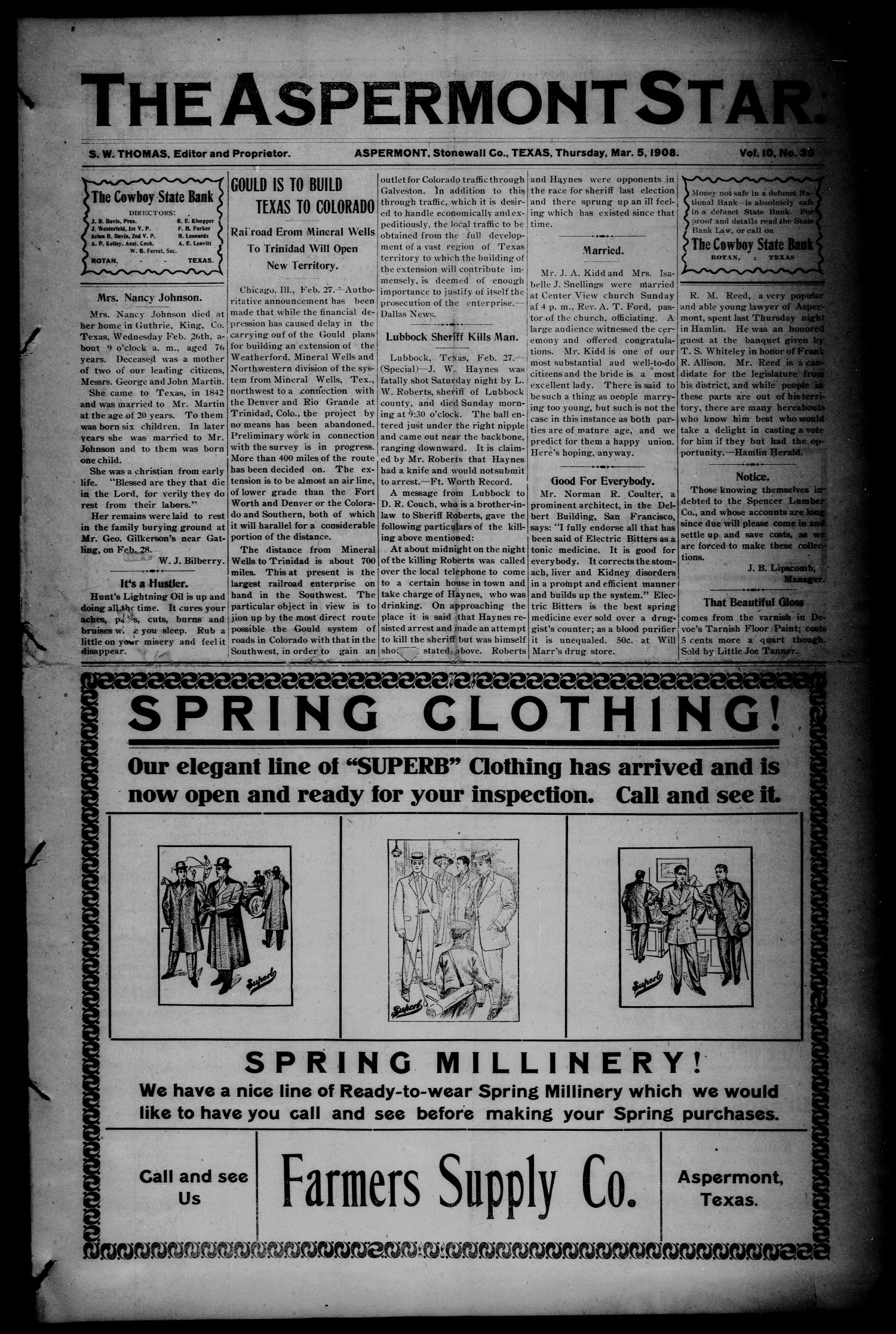 The Aspermont Star (Aspermont, Tex.), Vol. 10, No. 35, Ed. 1 Thursday, March 5, 1908                                                                                                      [Sequence #]: 1 of 8