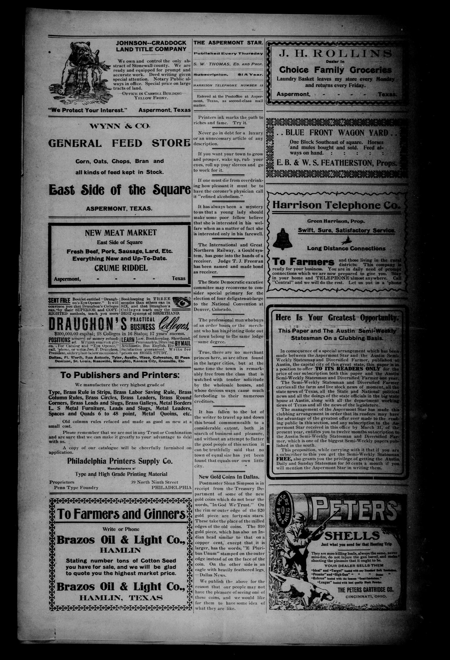 The Aspermont Star (Aspermont, Tex.), Vol. 10, No. 35, Ed. 1 Thursday, March 5, 1908                                                                                                      [Sequence #]: 2 of 8