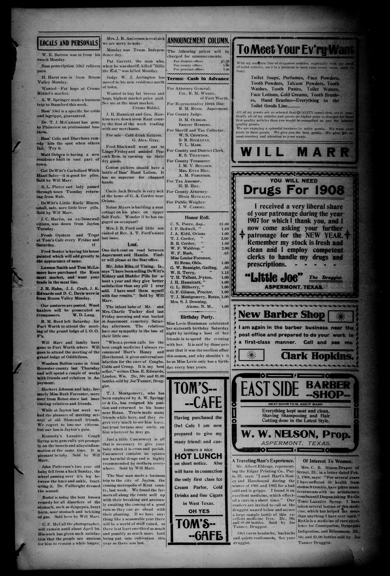 The Aspermont Star (Aspermont, Tex.), Vol. 10, No. 35, Ed. 1 Thursday, March 5, 1908                                                                                                      [Sequence #]: 3 of 8
