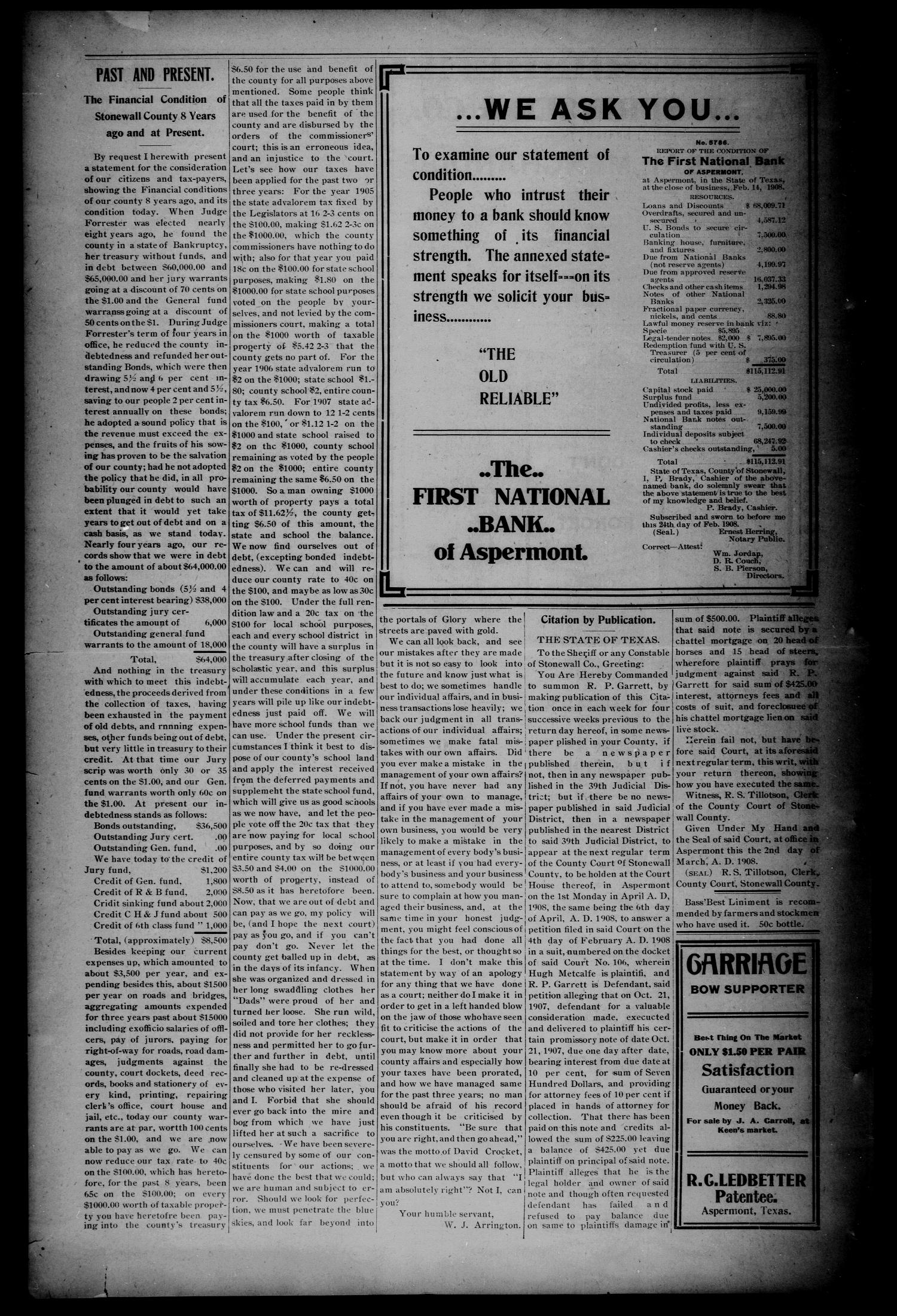 The Aspermont Star (Aspermont, Tex.), Vol. 10, No. 35, Ed. 1 Thursday, March 5, 1908                                                                                                      [Sequence #]: 8 of 8