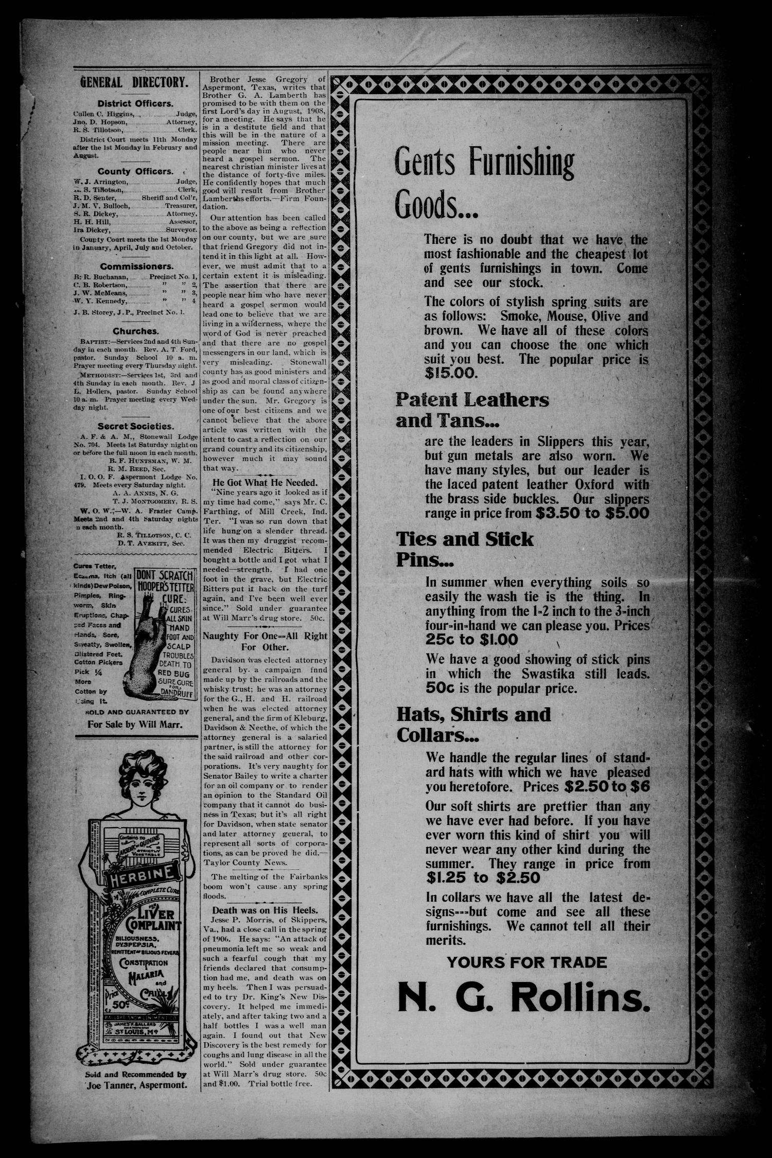 The Aspermont Star (Aspermont, Tex.), Vol. 10, No. 41, Ed. 1 Thursday, April 16, 1908                                                                                                      [Sequence #]: 4 of 8