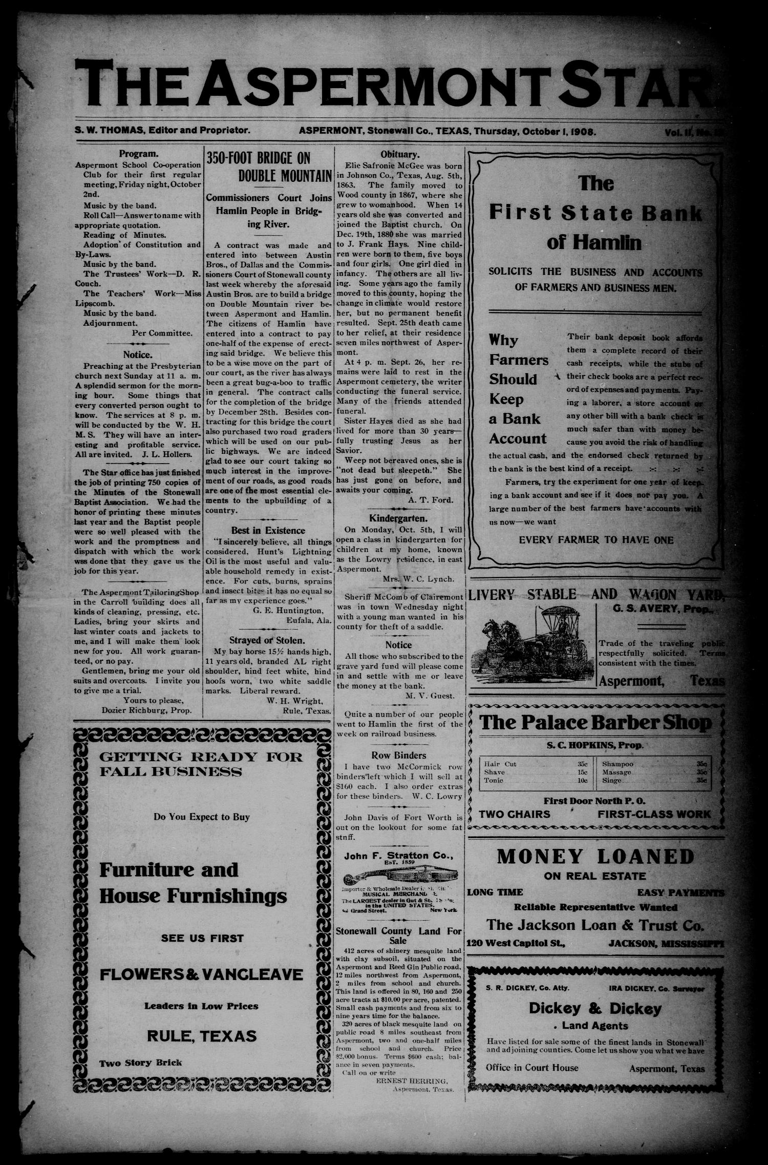 The Aspermont Star (Aspermont, Tex.), Vol. 11, No. 13, Ed. 1 Thursday, October 1, 1908                                                                                                      [Sequence #]: 1 of 8