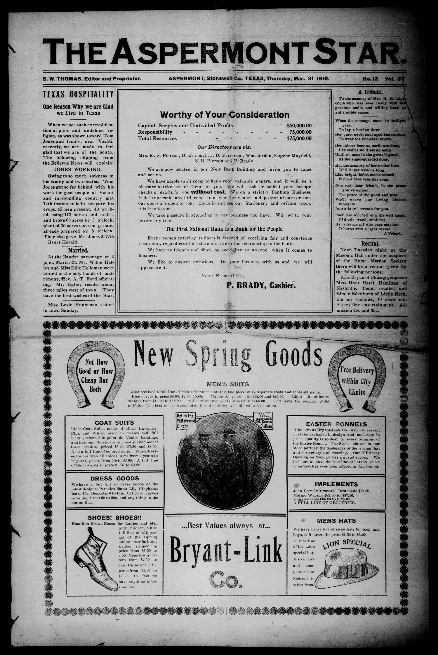 The Aspermont Star (Aspermont, Tex.), Vol. 12, No. 37, Ed. 1 Thursday, March 31, 1910                                                                                                      [Sequence #]: 1 of 10