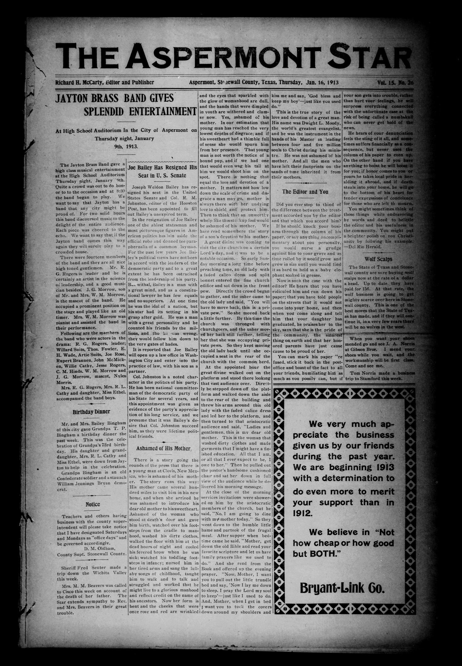 The Aspermont Star (Aspermont, Tex.), Vol. 15, No. 26, Ed. 1 Thursday, January 16, 1913                                                                                                      [Sequence #]: 1 of 5