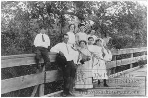 Primary view of object titled '[Young people visiting on a country bridge]'.
